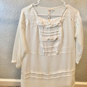 LC Lauren Conrad white dress shirt size medium